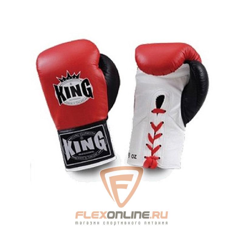 Боксерские перчатки Перчатки боксерские соревновательные на шнурках 10 унций красные от King