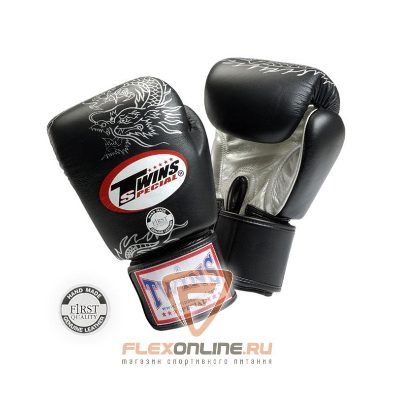 Боксерские перчатки Перчатки боксерские тренировочные на липучке 16 унций чёрные от Twins