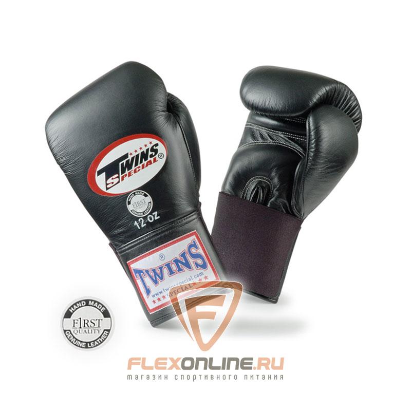 Боксерские перчатки Перчатки боксерские тренировочные на резинке 16 унций чёрные от Twins