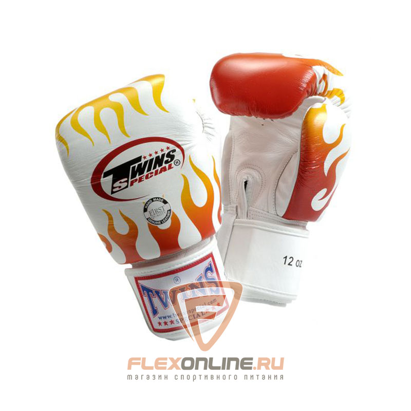 Боксерские перчатки Перчатки боксерские тренировочные на липучке 8 унций белые от Twins