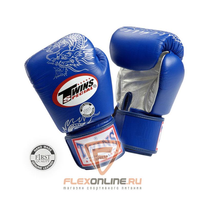 Боксерские перчатки Перчатки боксерские тренировочные на липучке 8 унций синие от Twins