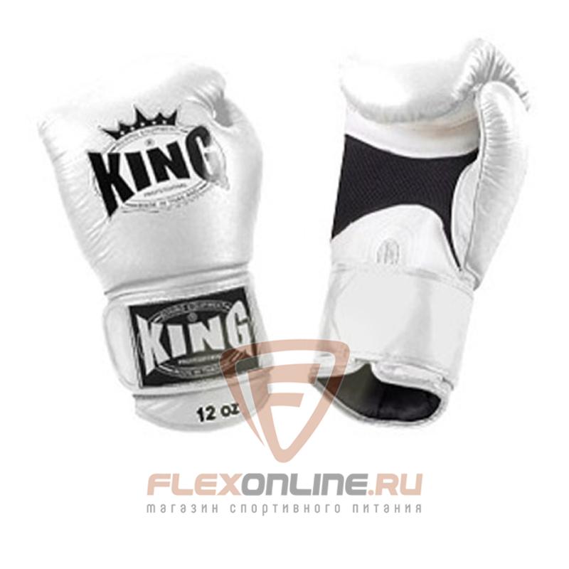 Боксерские перчатки Перчатки боксерские тренировочные на липучке 10 унций белые от King