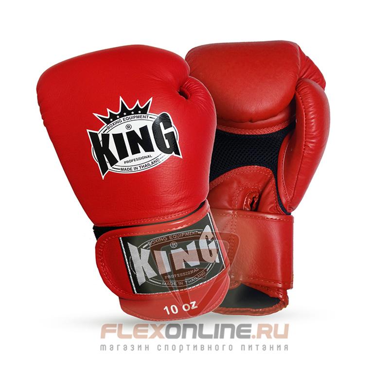 Боксерские перчатки Перчатки боксерские тренировочные на липучке 16 унций красные от King