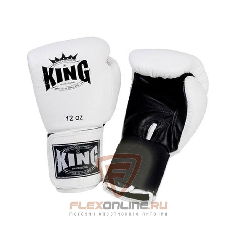 Боксерские перчатки Перчатки боксерские тренировочные на липучке 14 унций белые от King