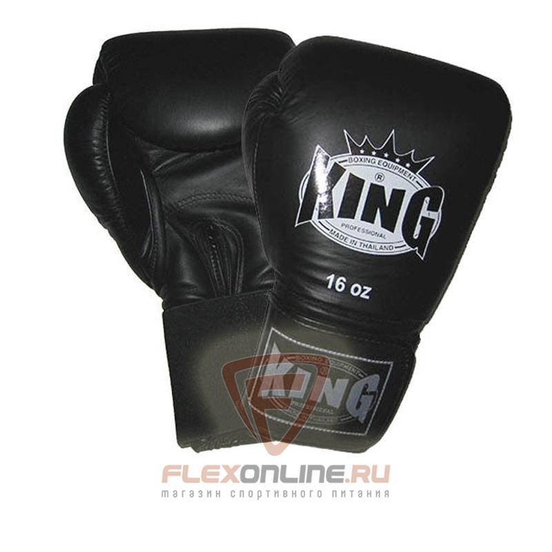 Боксерские перчатки Перчатки боксерские тренировочные на липучке 14 унций чёрные от King