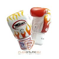 Боксерские перчатки Перчатки боксерские тренировочные на липучке 14 унций белые от Twins