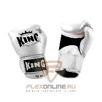Боксерские перчатки Перчатки боксерские тренировочные на липучке 16 унций белые от King