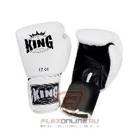 Боксерские перчатки Перчатки боксерские тренировочные на липучке 12 унций белые от King