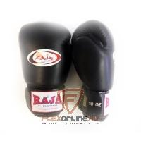 Боксерские перчатки Перчатки боксерские тренировочные на липучке 10 унций чёрные от Raja