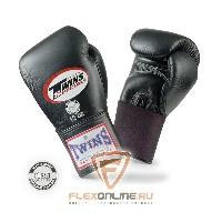 Боксерские перчатки Перчатки боксерские тренировочные на резинке 10 унций чёрные от Twins